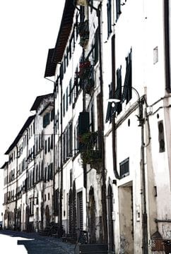 Lucca Italië Huisgevels in de zomer van