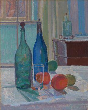 Spencer Frederick Gore~Blaue und grüne Flaschen und Orangen