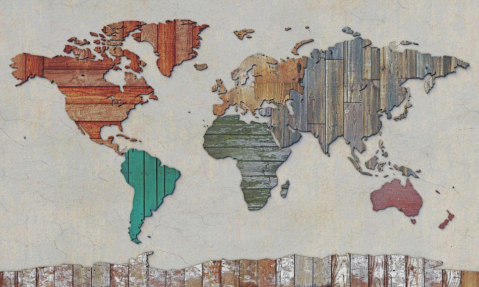Wereldkaart in sloophout van Frans Blok