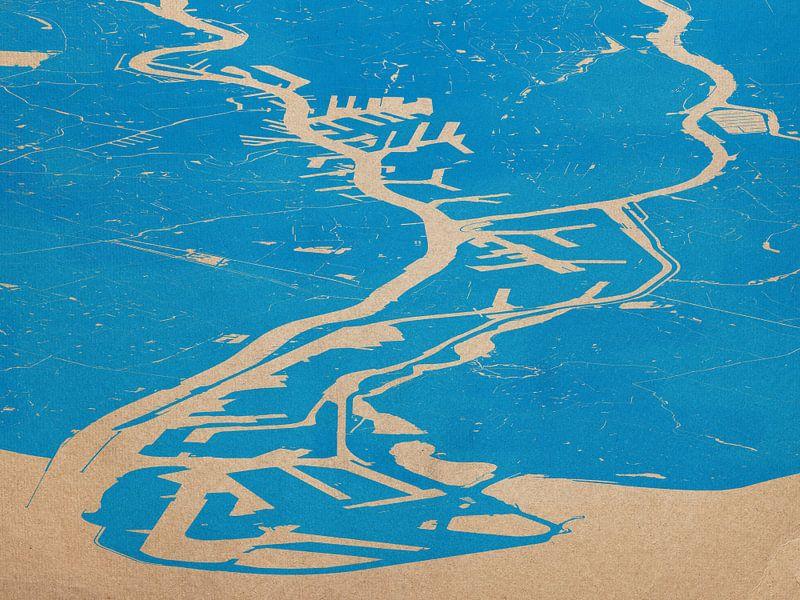 Havenkaart Rotterdam - blauw van Frans Blok