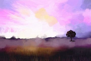 Landschaft im Licht eines kalten Morgens von Tanja Udelhofen