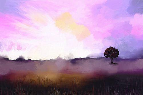 Landschap in het licht van een koude ochtend