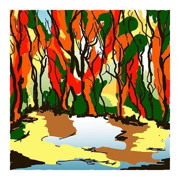Zeefdruk art-kunst van bos in kleuren van de herfst van Marianne van der Zee