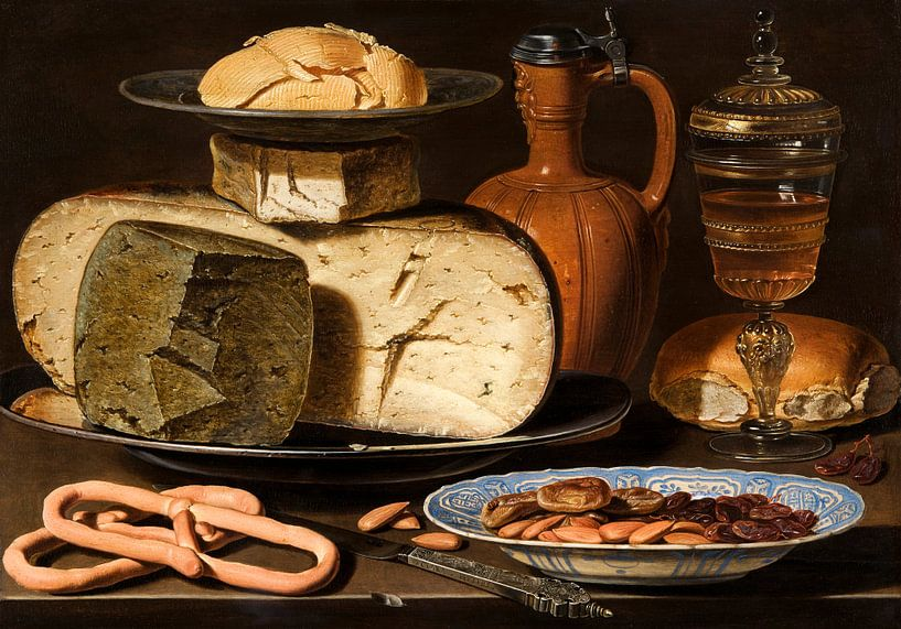 Clara Peeters, Stilleven met kazen, brood en drinkgerei van Meesterlijcke Meesters