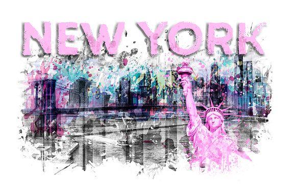 Modern Art NEW YORK CITY Skyline Spatten   roze van Melanie Viola