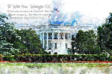 Het Witte Huis, Watercolor, Washington DC van Theodor Decker