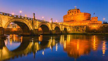 Sonnenuntergang San Angelo Brücke und Schloss Sant Angelo von Henk Meijer Photography