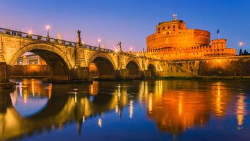 Sonnenuntergang San Angelo Brücke und Schloss Sant Angelo
