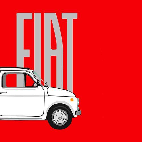 Witte Fiat 500 op rood van