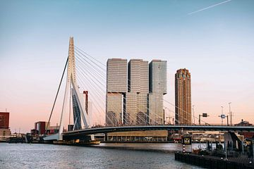 Rotterdam - Erasmusbrug in het Avondlicht (1) van Jordy Brada