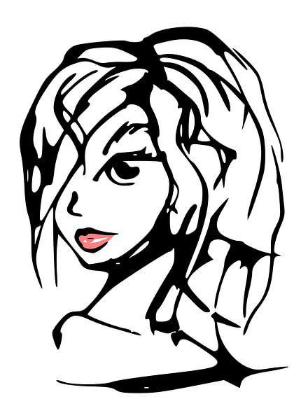 Illustration schwarz-weiß und rot - Porträt Frau von Emiel de Lange