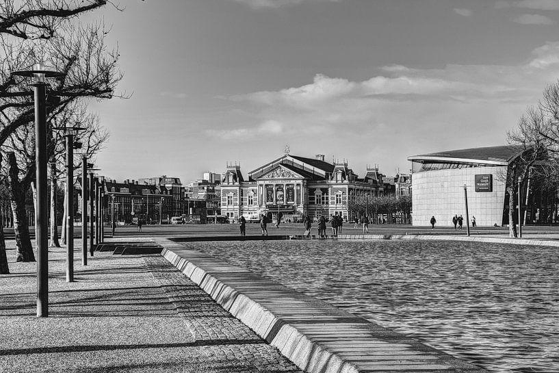 Museumplein Van Gogh Museum Concertgebouw Amsterdam Winter Zwart-Wit van Hendrik-Jan Kornelis