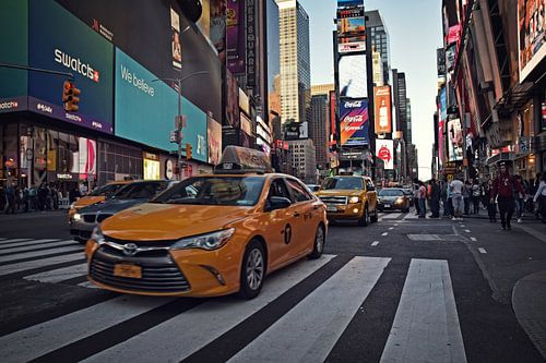 Times Square, New York - Yellow Cab van