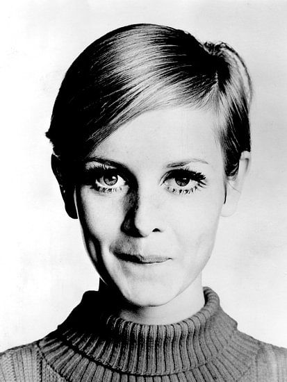 Das Modell Twiggy, 1966 (s/w-Foto)