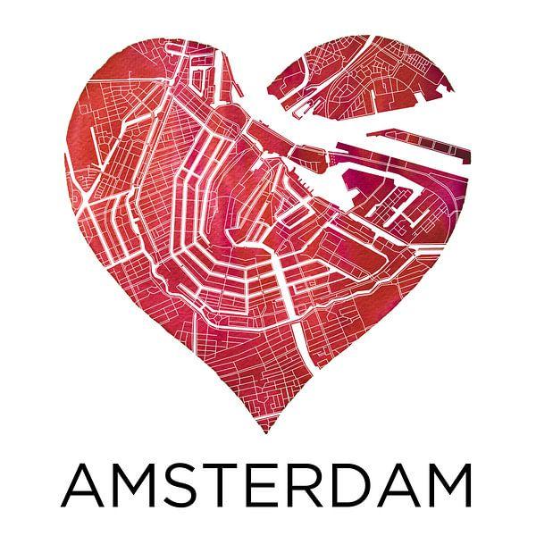 Liefde voor Amsterdam  |  Stadskaart in een hart van Wereldkaarten.Shop