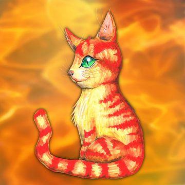 Vurige kat van Bianca Wisseloo