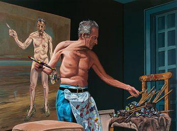 Lucian Freud bei der Büromalerei von Paul Meijering