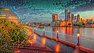 Kleurrijk Abstract Schilderij Skyline Londen
