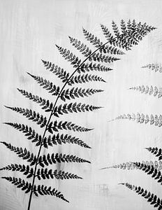 Gemälde schwarz-weißes Farnblatt