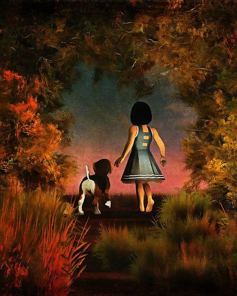 Enfants Art: Balade romantique dans les bois sur Jan Keteleer