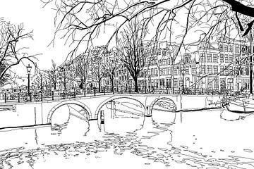Zeichnung Brouwersgracht Keizersgracht Amsterdam von Hendrik-Jan Kornelis