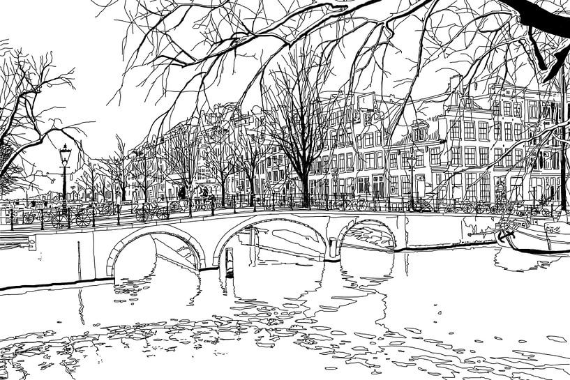 Tekening Brouwersgracht Keizersgracht Amsterdam van Hendrik-Jan Kornelis