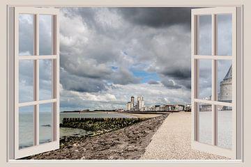 Uitzicht op de boulevard van Vlissingen (vanuit het raam)