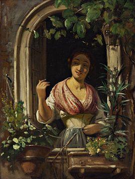 Wilhelm Marstrand-Italienerin winkt aus einem Fenster