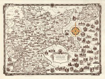 Geïllustreerde kaart van Duitsland van