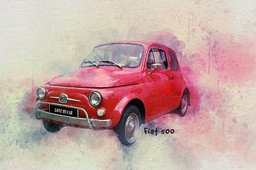 Rode Fiat 500 van Kvinne Fotografie