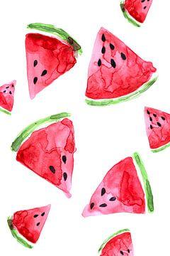 Watermeloen Aquarel van