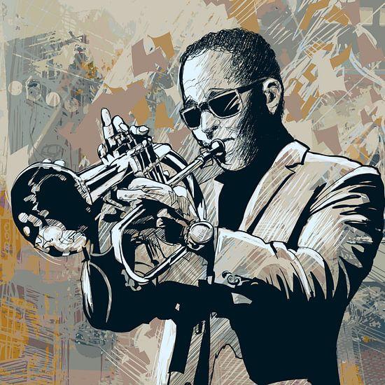 Muziek Trompet van STUDIO68 wanddecoratie