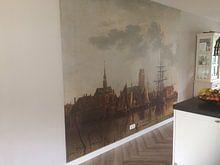 Klantfoto: Gezicht op Dordrecht bij zonsondergang, Aelbert Cuyp van Meesterlijcke Meesters, op naadloos behang