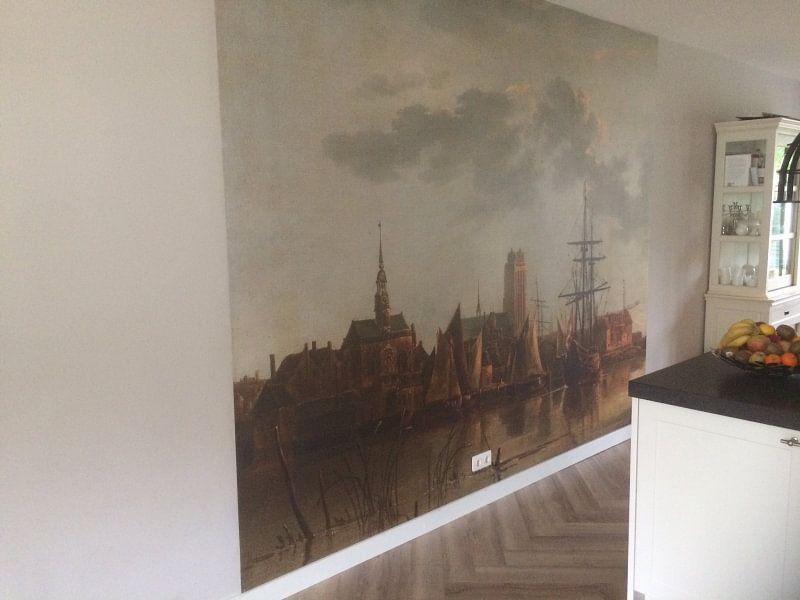 Klantfoto: Gezicht op Dordrecht bij zonsondergang, Aelbert Cuyp van Meesterlijcke Meesters