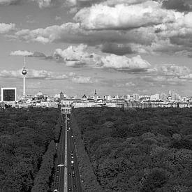 Berlin Skyline Panorama Schwarzweiss von Frank Herrmann