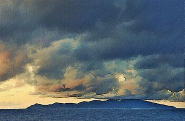 Neuseeland - Bay of Islands - Sonnenuntergang - Bewölkung und Berge - Meerblick - Gemälde von Schildersatelier van der Ven