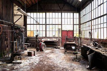 Milieu de travail abandonné en décomposition. sur Roman Robroek