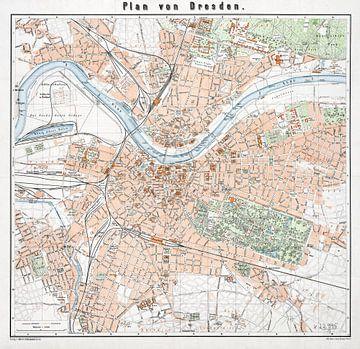 Dresden stadsplattegrond 1912 van Atelier Liesjes