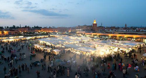 Panorama Djeema-el-fna markt Marrakech Marokko