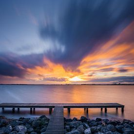 Zonsondergang aan het Schildmeer van Ton Drijfhamer