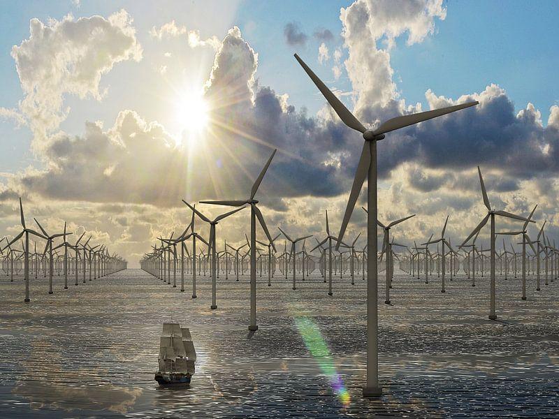 Duizend windmolens op zee - avondzon van Frans Blok