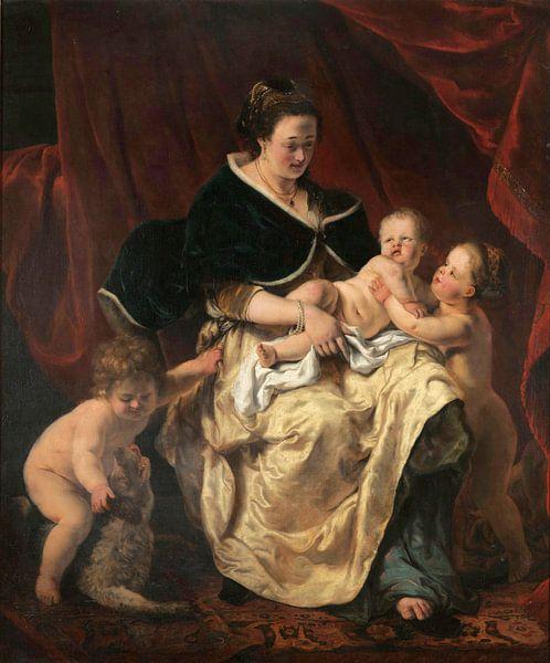 Mutter mit drei Kindern, Ferdinand Bol von Meesterlijcke Meesters