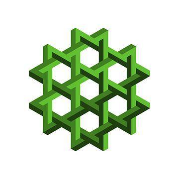 Penrose Sechseck Grün von Leeuwen Werk