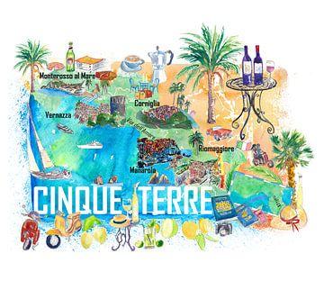 Cinque Terre Italien Illustrierte Mittelmeer-Reisekarte mit Highlights der Ligurischen Küste von Markus Bleichner