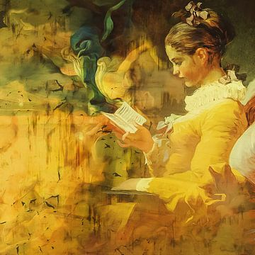 Klassische Collage mit Leser in gelb von Joost Hogervorst