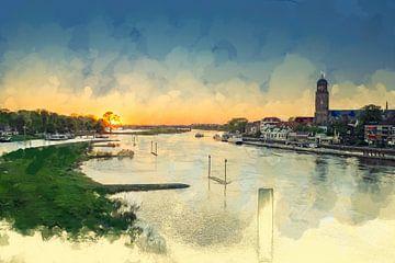 Buntes Gemälde Sonnenuntergang Deventer von Arjen Roos