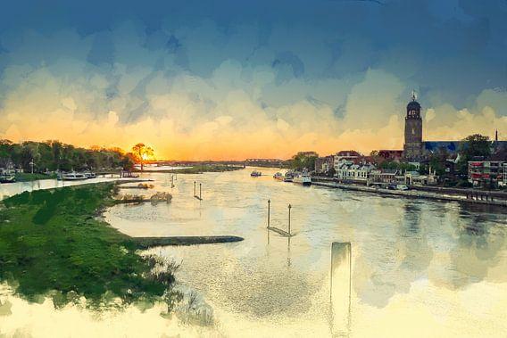 Kleurrijk schilderijzonsondergang Deventer