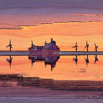 windmolens en containerschip bij zonsondergang van Joke te Grotenhuis