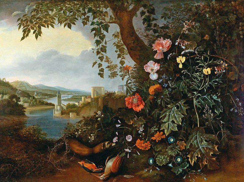 Eine Landschaft mit Blumen und einer Marder- und Vogelfalle, Matthias Withoos von Meesterlijcke Meesters