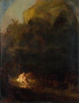 Diana badet überrascht von einem Satyr, Anhänger von Rembrandt